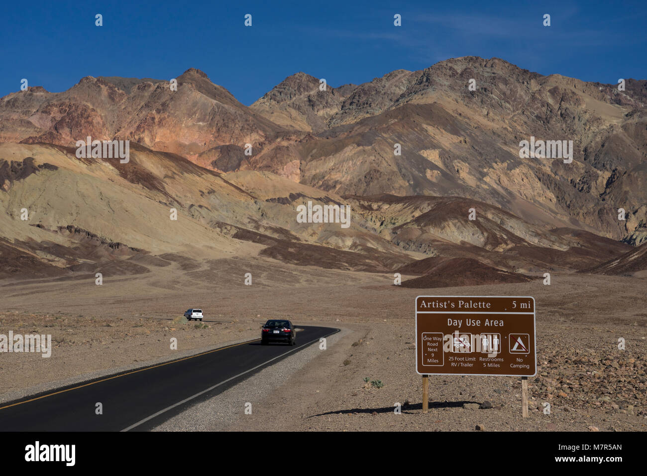 Artists Palette Drive,Death valley National Park ,California,United Staes - Stock Image