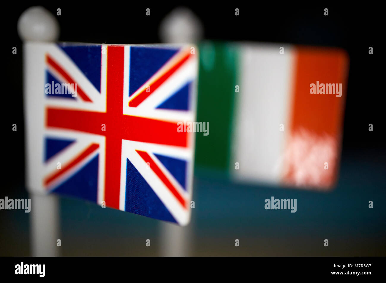 british union flag and irish tricolour flag brexit flags Stock Photo