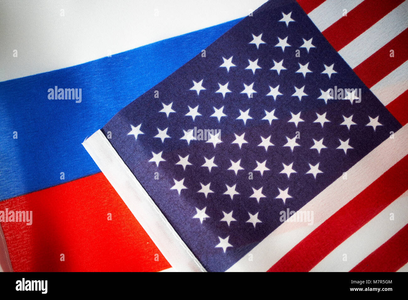 russian and us stars and stripes flag flags - Stock Image