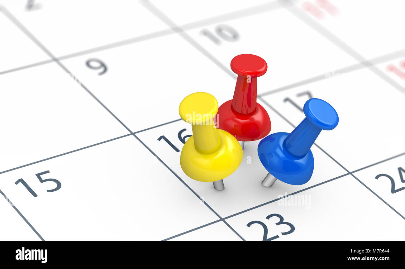 Events reminders of a busy day concept with 3 colored push pins on a calendar page 3D illustration. - Stock Image