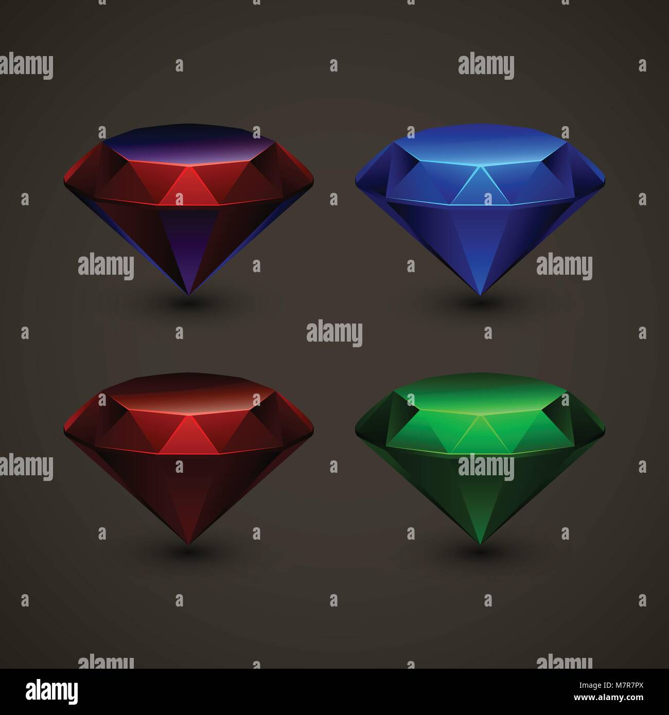 colored jewels in set - Stock Vector