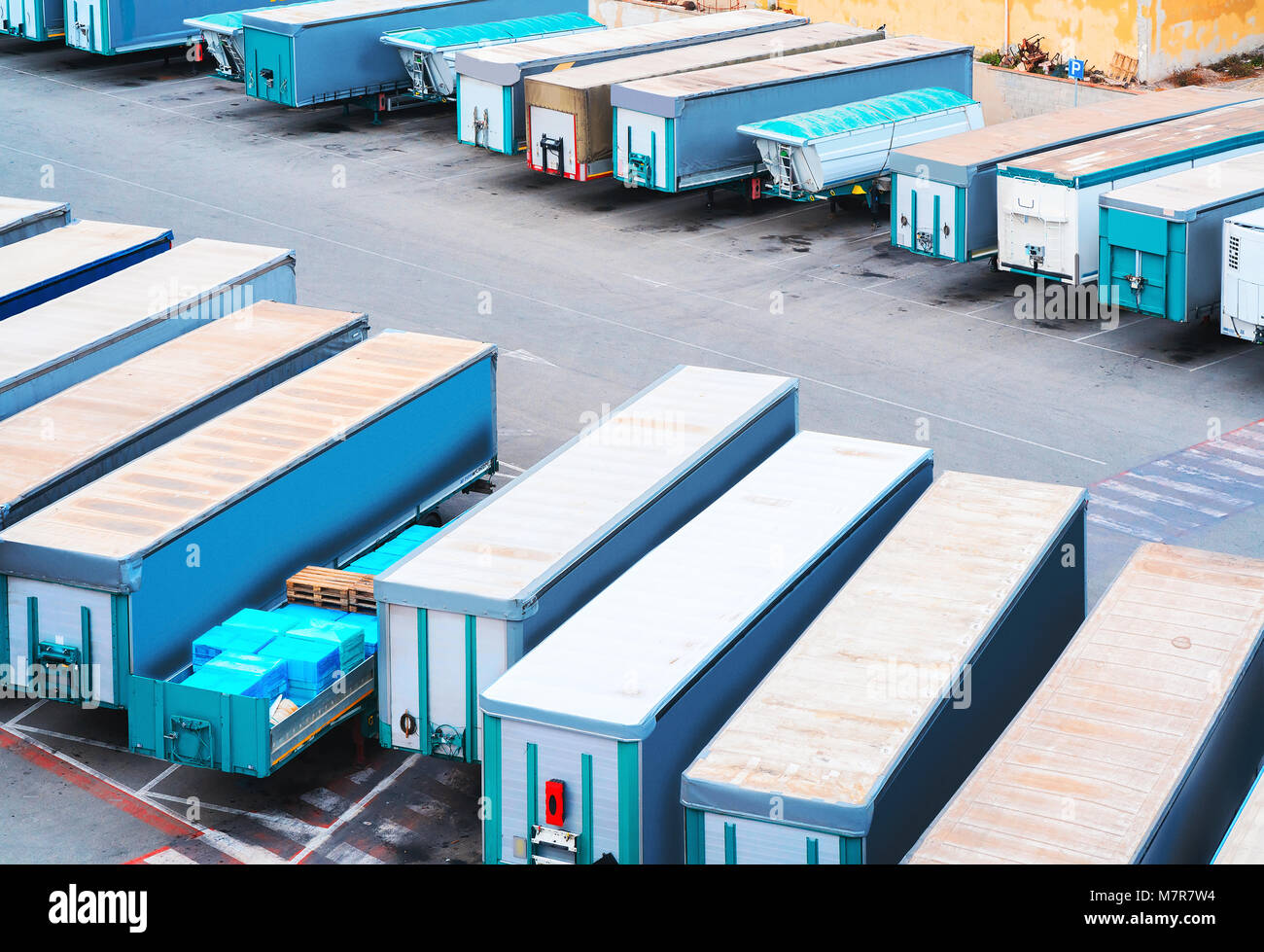 Waggons of the vans in the port of Cagliari, Sardinia, Italy - Stock Image