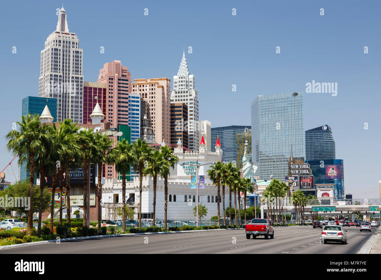 Las Vegas, USA - May 19, 2012. Excalibur Hotel and New York New York Hotel and Casino on Las Vegas Boulevard. Stock Photo