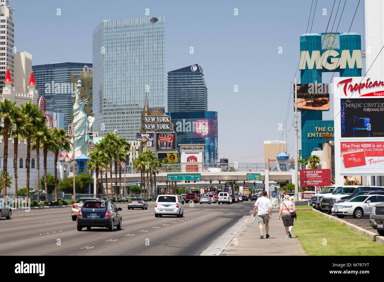 Las Vegas, USA - May 19, 2012. New York New York Hotel, Excalibur Hotel, and MGM Grand Hotels on The Strip, Las - Stock Image
