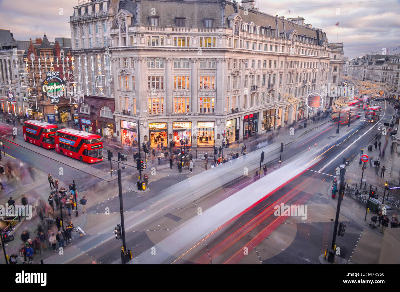 Oxford Circus between Oxford Street and Regent Street- iconic London landmark from above - Stock Image