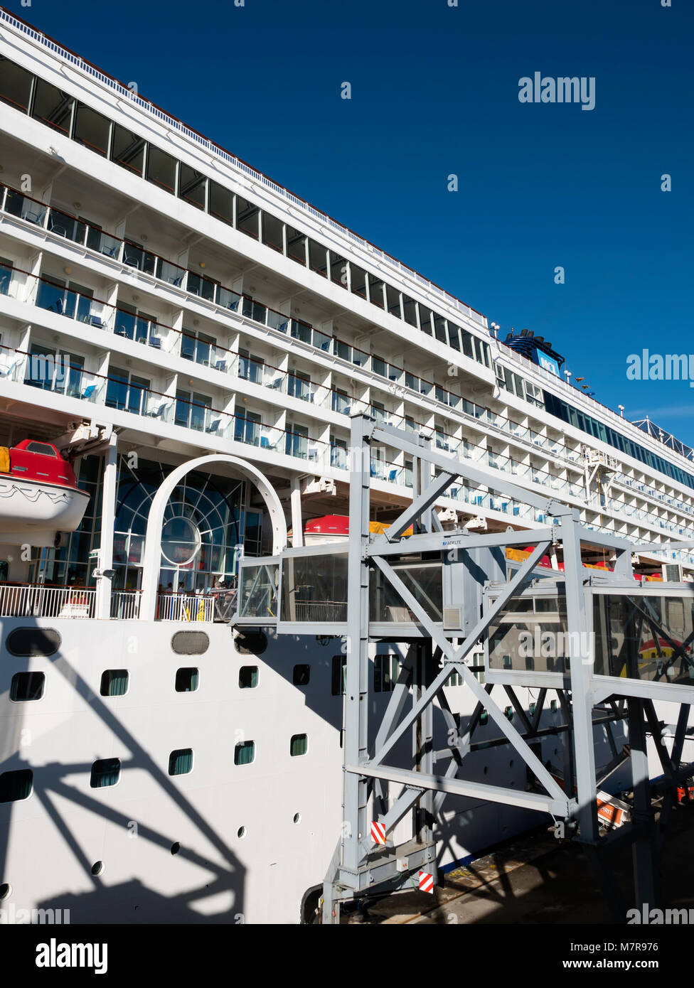 Gang plank for embarkation / disembarkation on the Norwegian Spirit Cruise Ship - Stock Image
