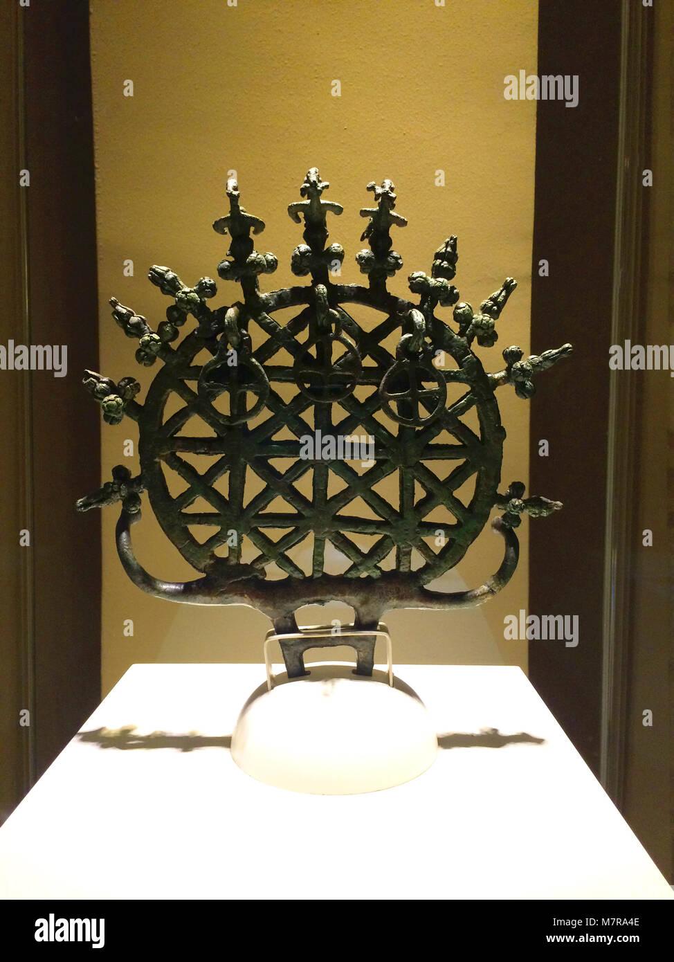 Hittite sun disc on display in Anatolian Civilisation Museum, Ankara, Turkey Stock Photo