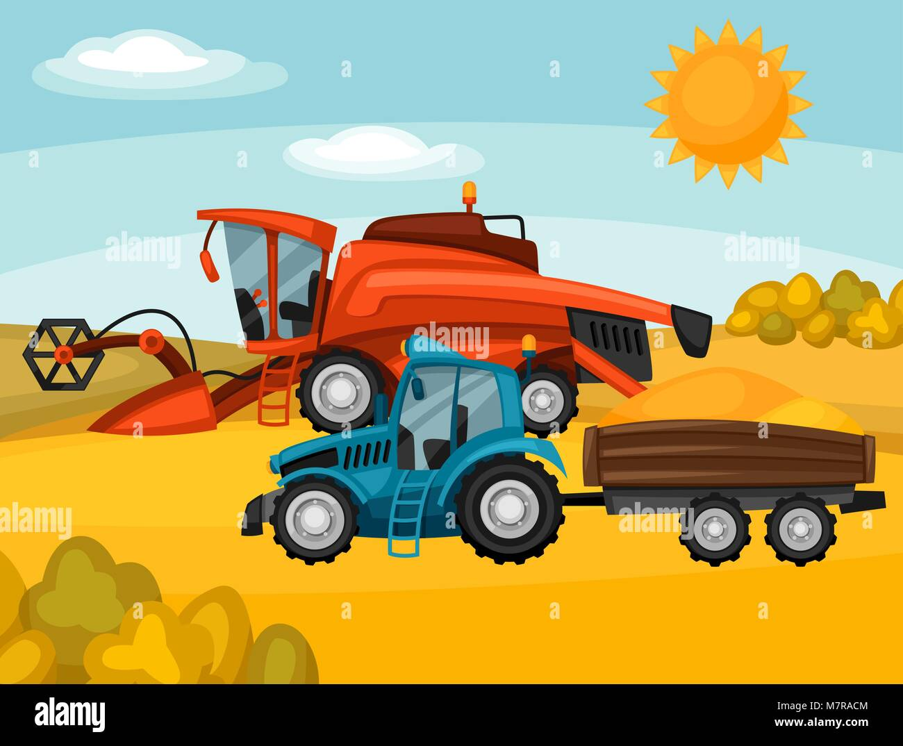 Combine harvester and tractor on wheat field. Agricultural illustration farm rural landscape - Stock Vector