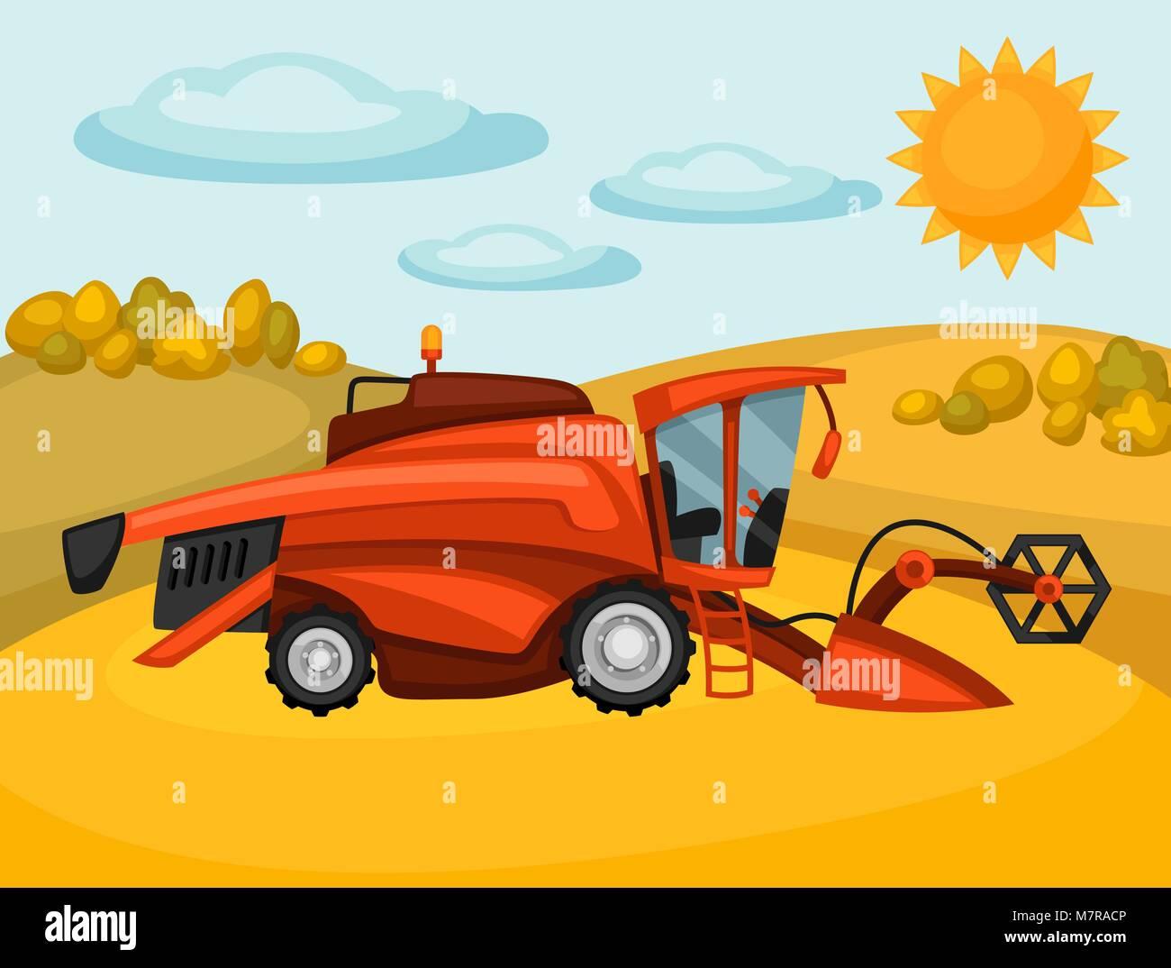 Combine harvester on wheat field. Agricultural illustration farm rural landscape - Stock Vector