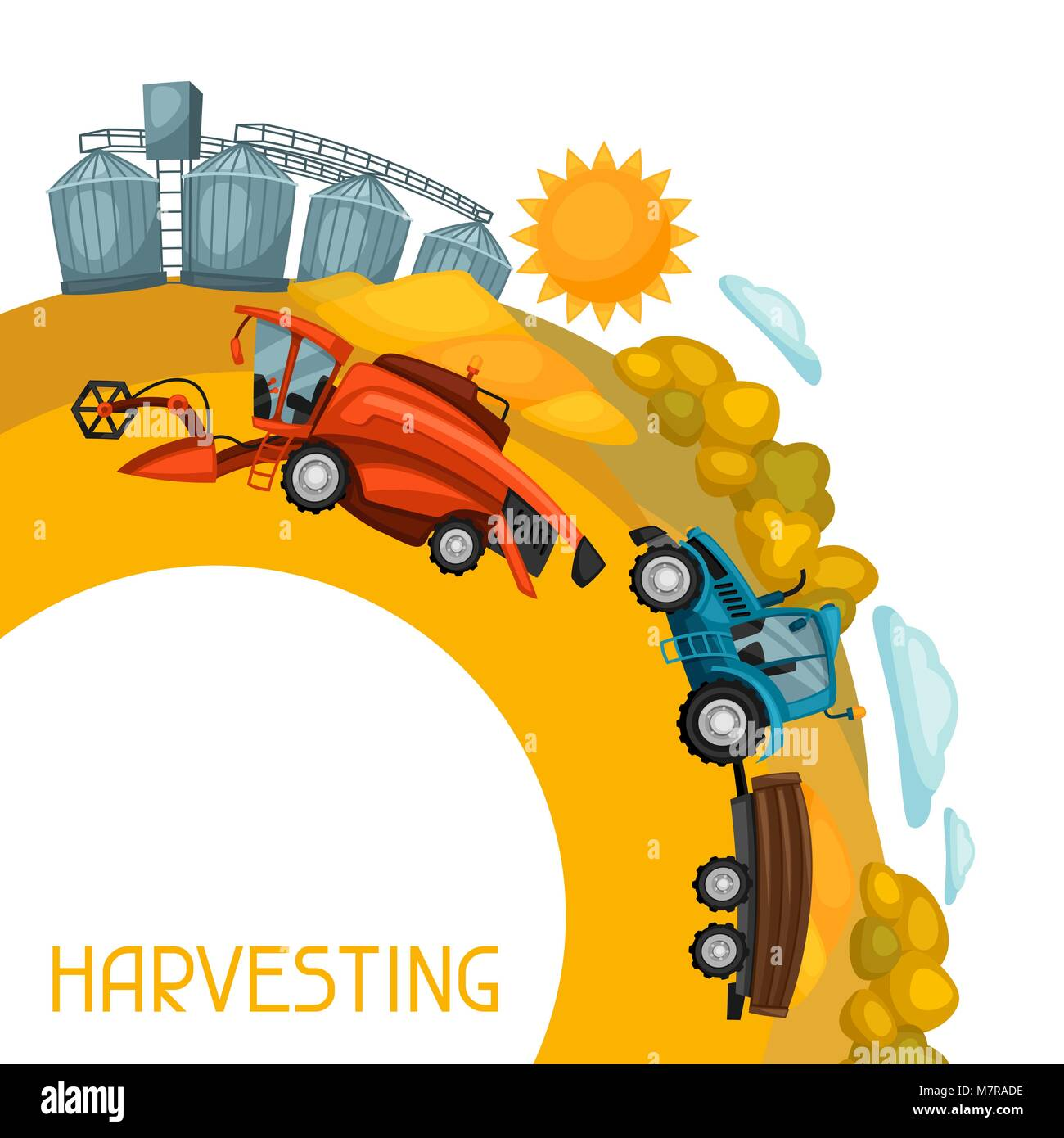 Harvesting background. Combine harvester, tractor and granary on wheat field. Agricultural illustration farm rural - Stock Vector