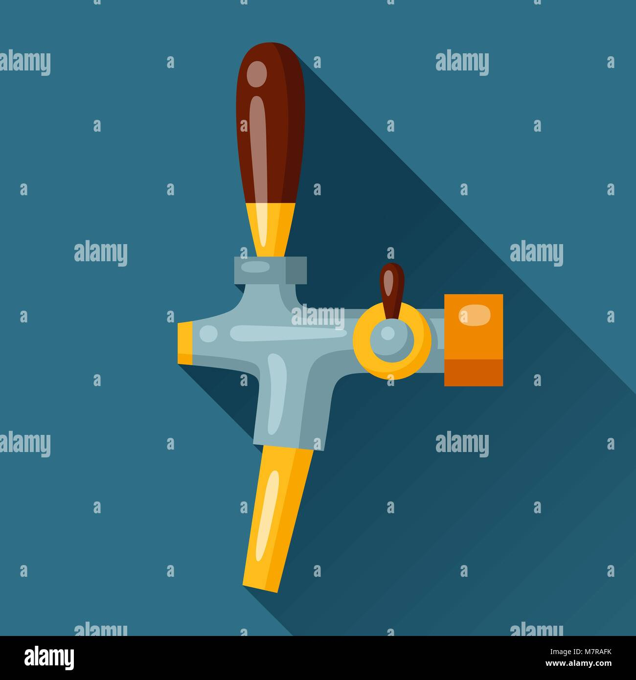Illustration of beer tap in flat design style Stock Vector