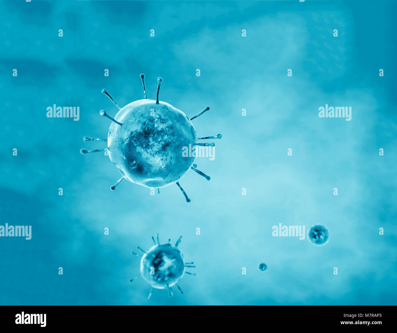 Virus, flu, view of a virus under a microscope, infectious disease - Stock Image