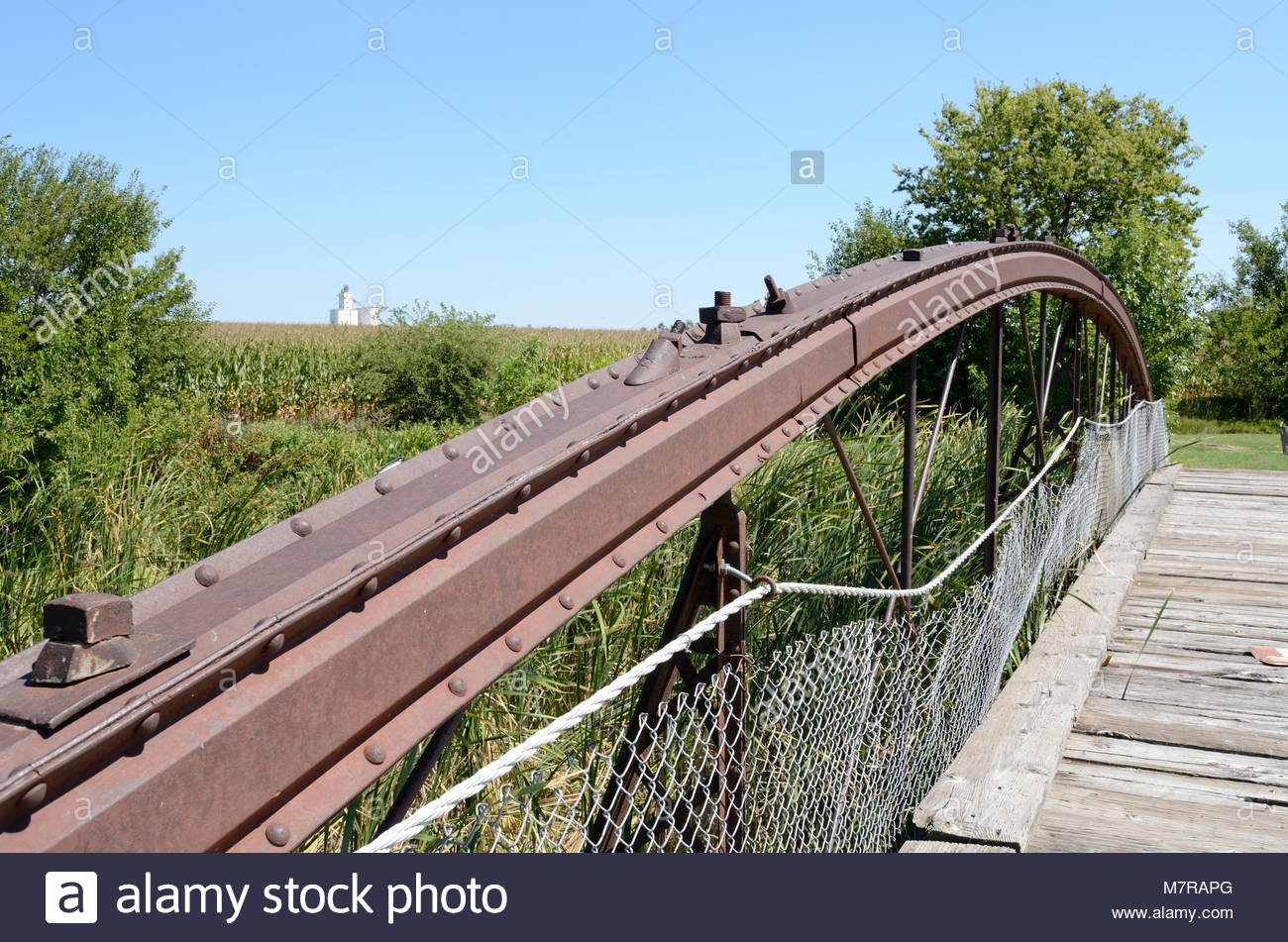 Kansas Cornfield, Kansas Grain Elevator and Kansas Historic Bridge. Wrought Iron Bridge Co. Keystone Columns. A - Stock Image