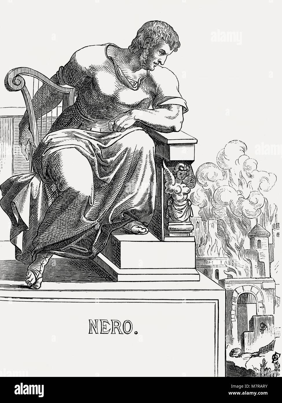 Nero or Nero Claudius Caesar Augustus Germanicus, 37 - 68, Roman Emperor from 54 to 68 - Stock Image