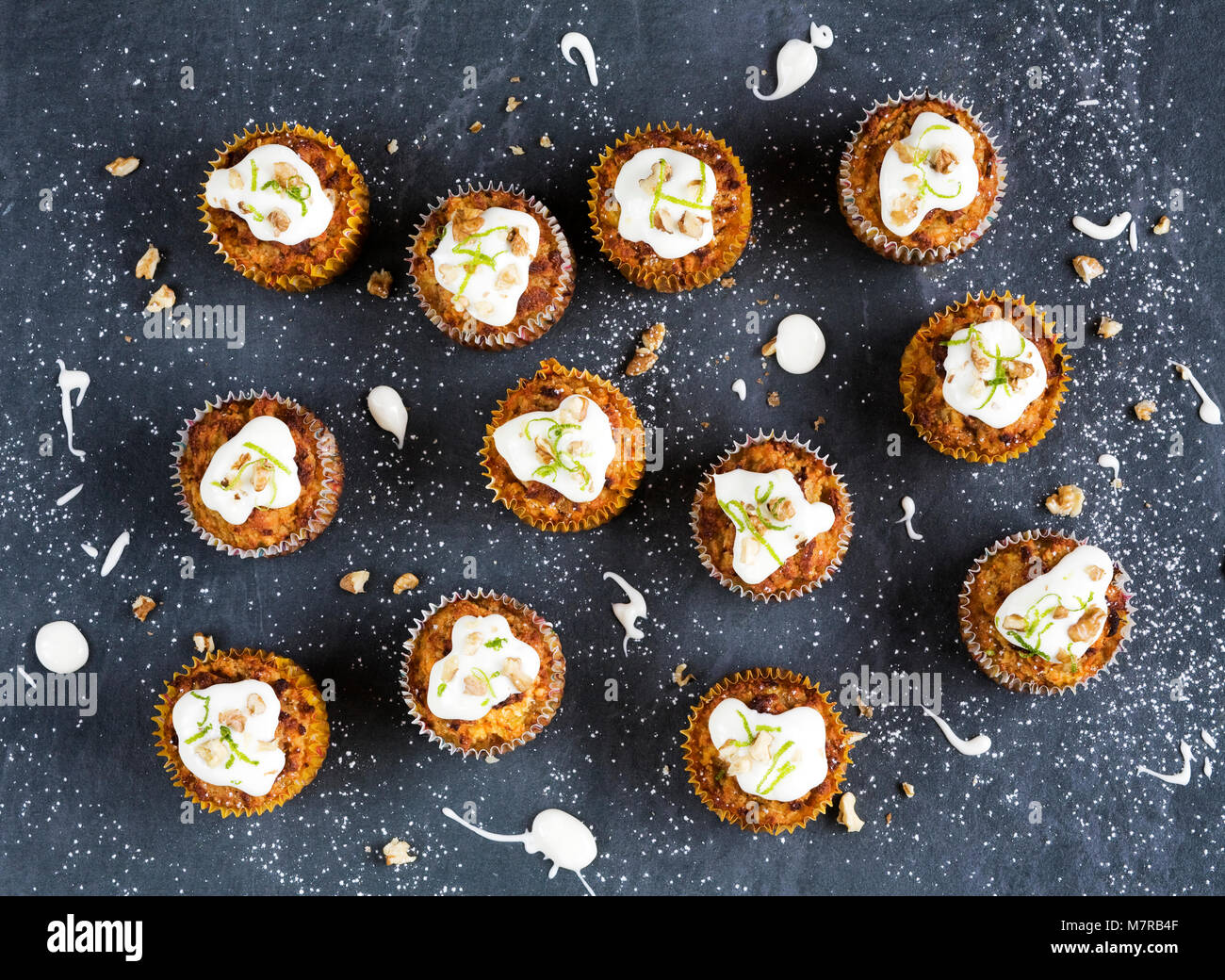 Homemade Carrot and Coconut Muffins. - Stock Image