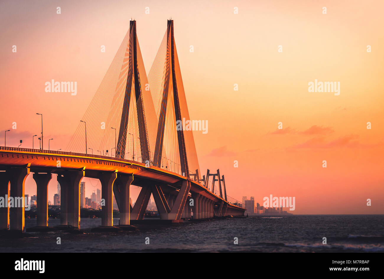 Bandra Worli Sea link, Mumbai at Sunset - Stock Image