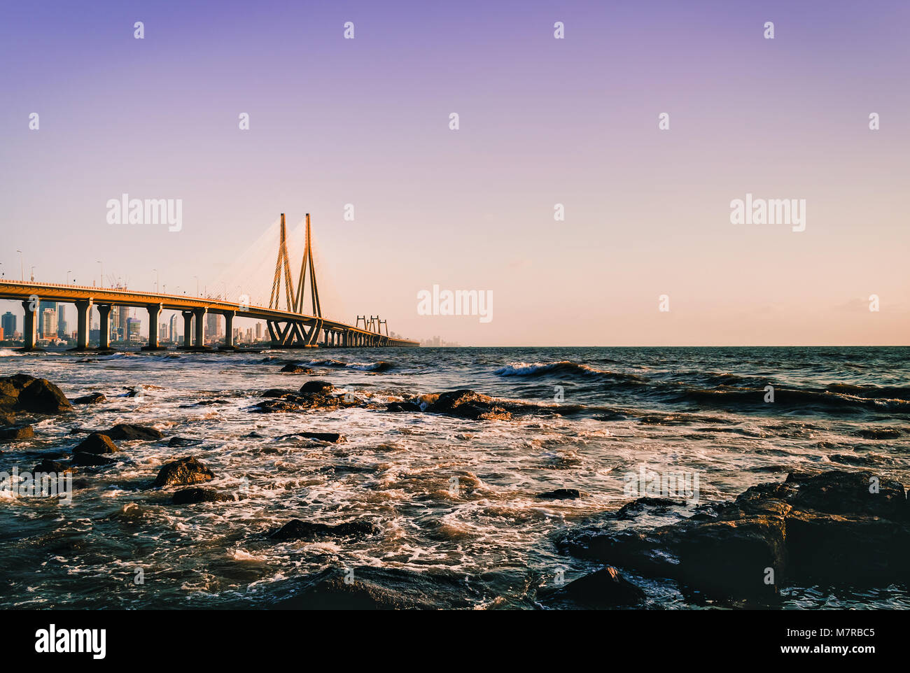 Bandra Worli Sea link as viewed from Bandstand - Stock Image