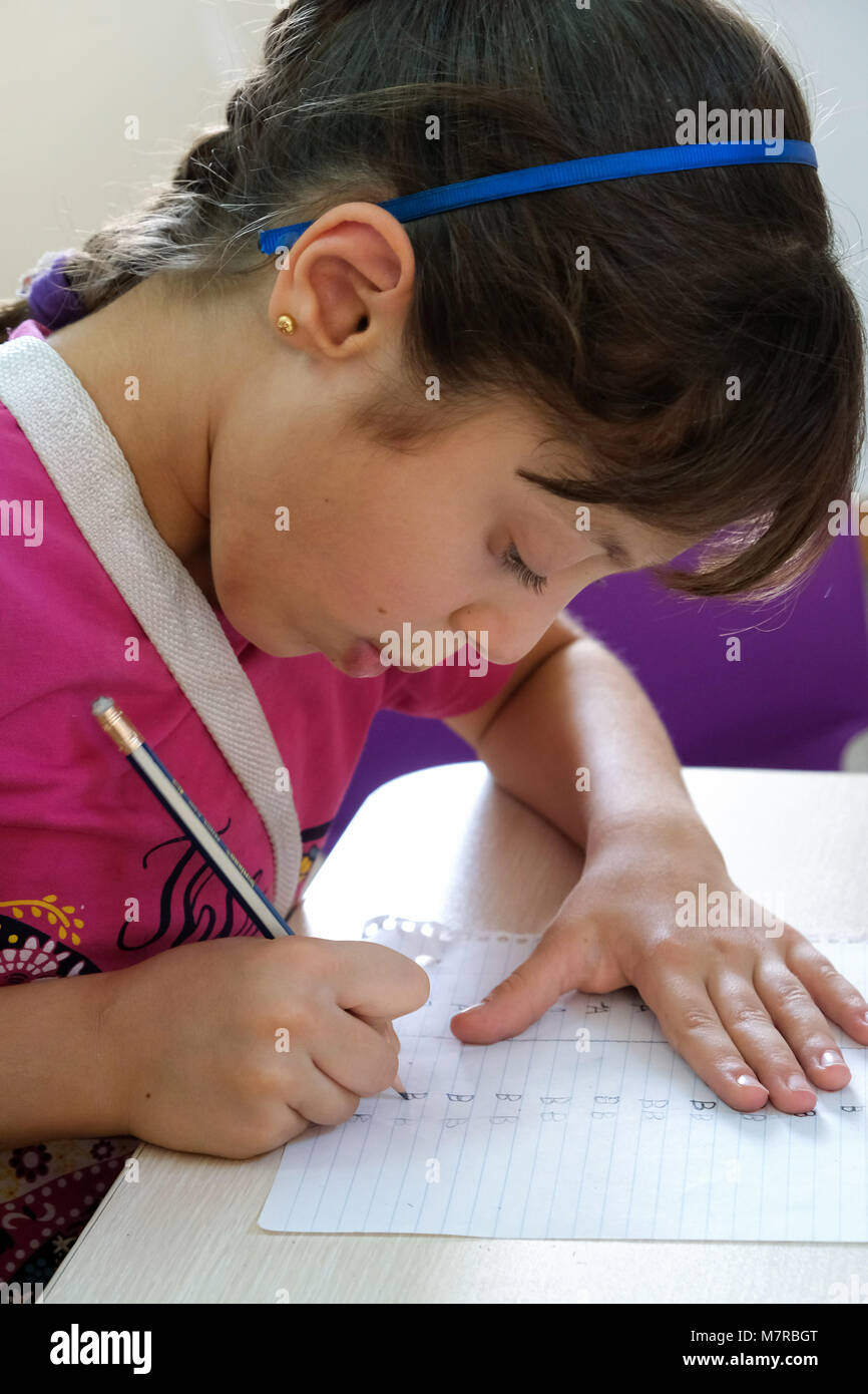 Girl in a kindergarten of the Christian Aid Program CAPNI in the Chaldean village Telekof in the Nineveh Plain, - Stock Image