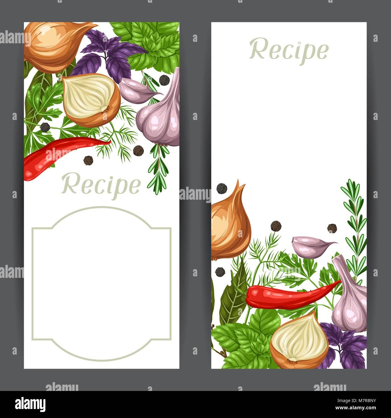 Banners design with various herbs and spices Stock Vector Art