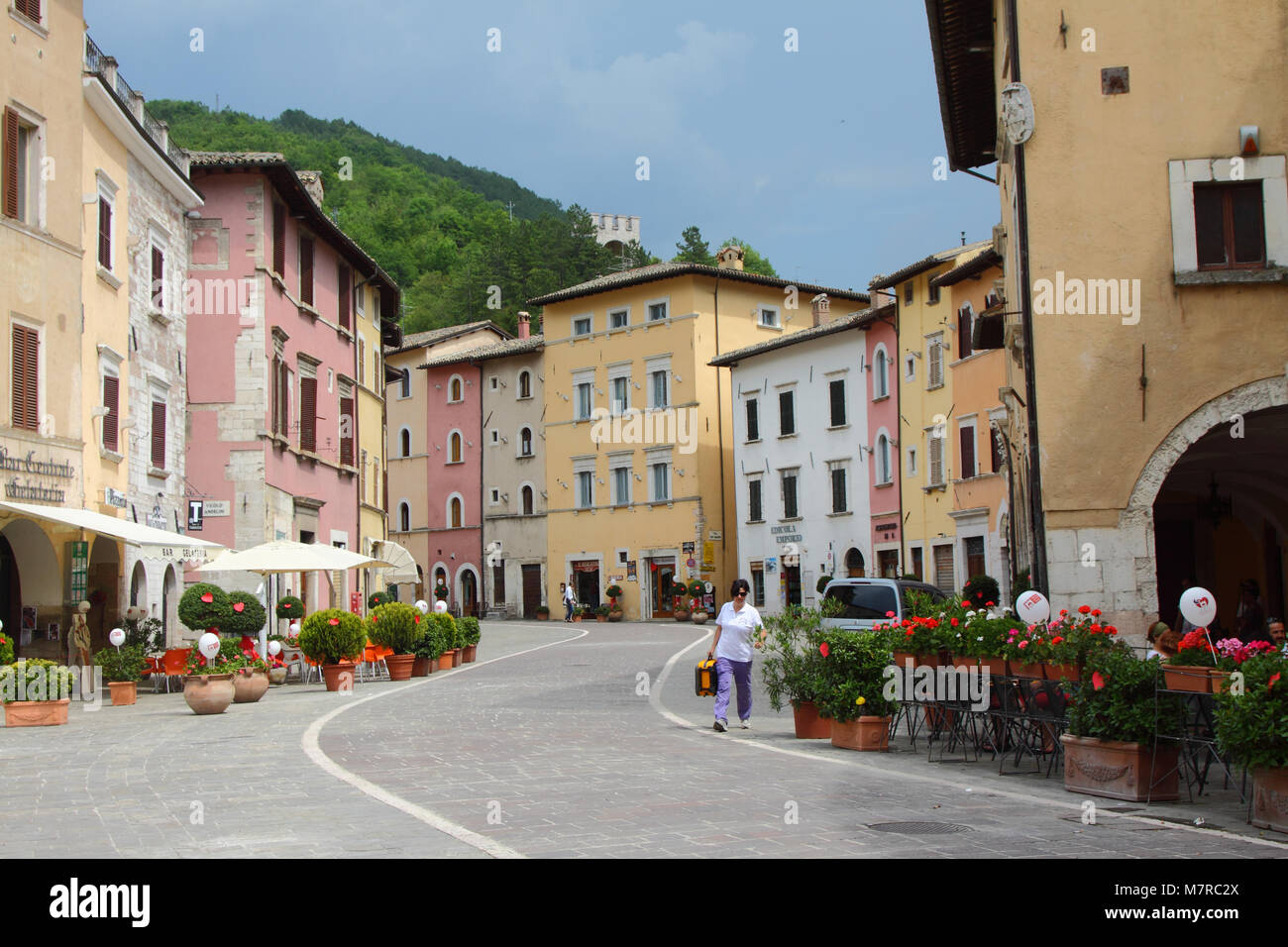 Main street in Visso, the heart of the Sibillini national park, Le Marche, Italy - Stock Image