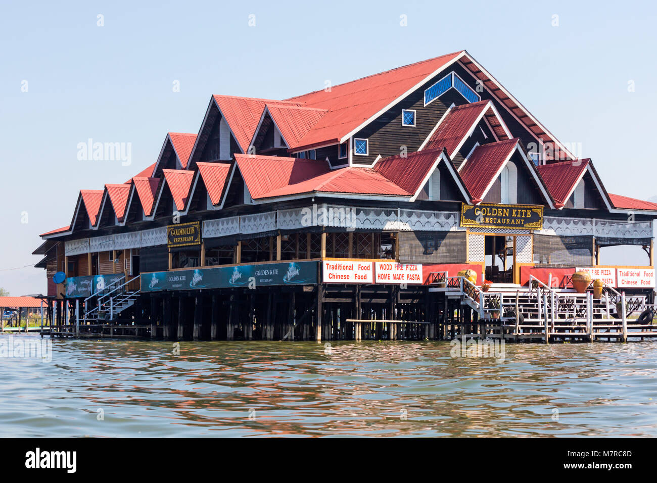 Golden Kite Restaurant at Inle Lake, Shan State, Myanmar (Burma), Asia in February - Stock Image