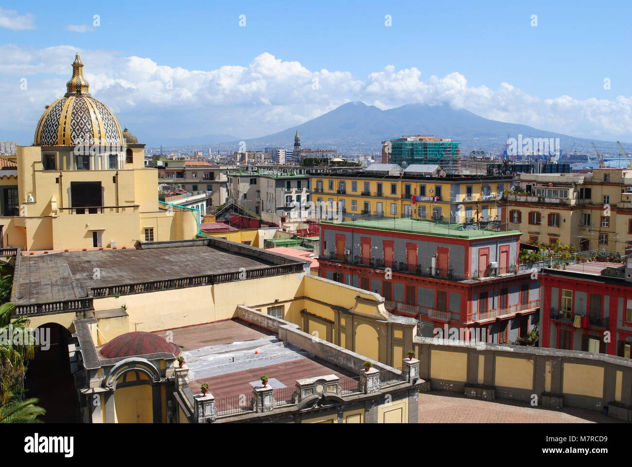 Mount Vesuvius seen from the Complex of Saints Marcellin and Festo. - Stock Image