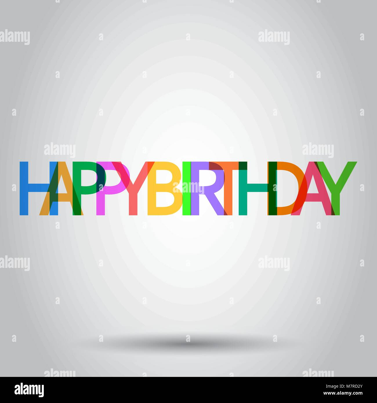Happy birthday vector icon. Celebration card with text flat vector illustration. Birthday business concept pictogram - Stock Image