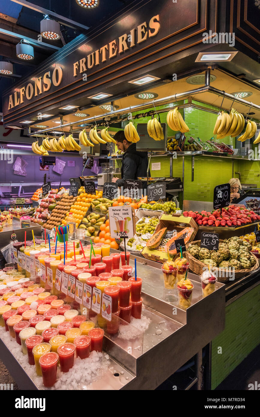 Boqueria market, Barcelona, Catalonia, Spain - Stock Image
