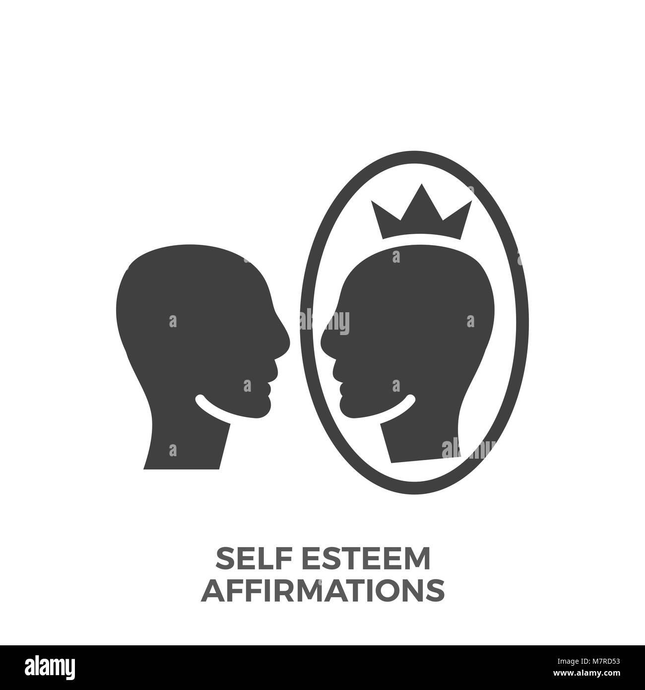 Self Esteem Affirmations Glyph Vector Icon. - Stock Image