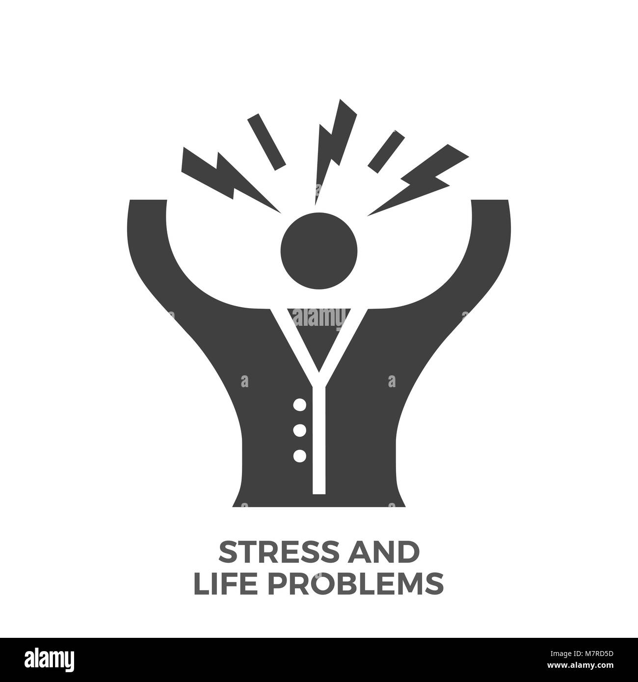 Stress and Life Problems Glyph Vector Icon. - Stock Vector