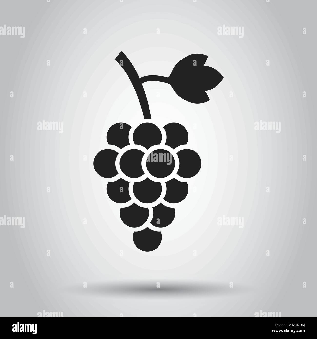 Grape fruit with leaf icon. Vector illustration on white background. Business concept Bunch of wine grapevine pictogram. - Stock Vector