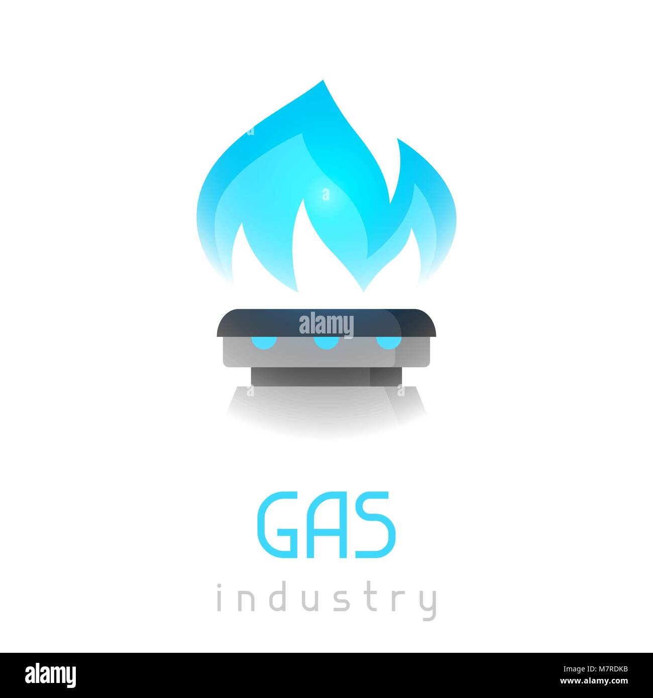 Blue gas flame on stove. Industrial illustration - Stock Image