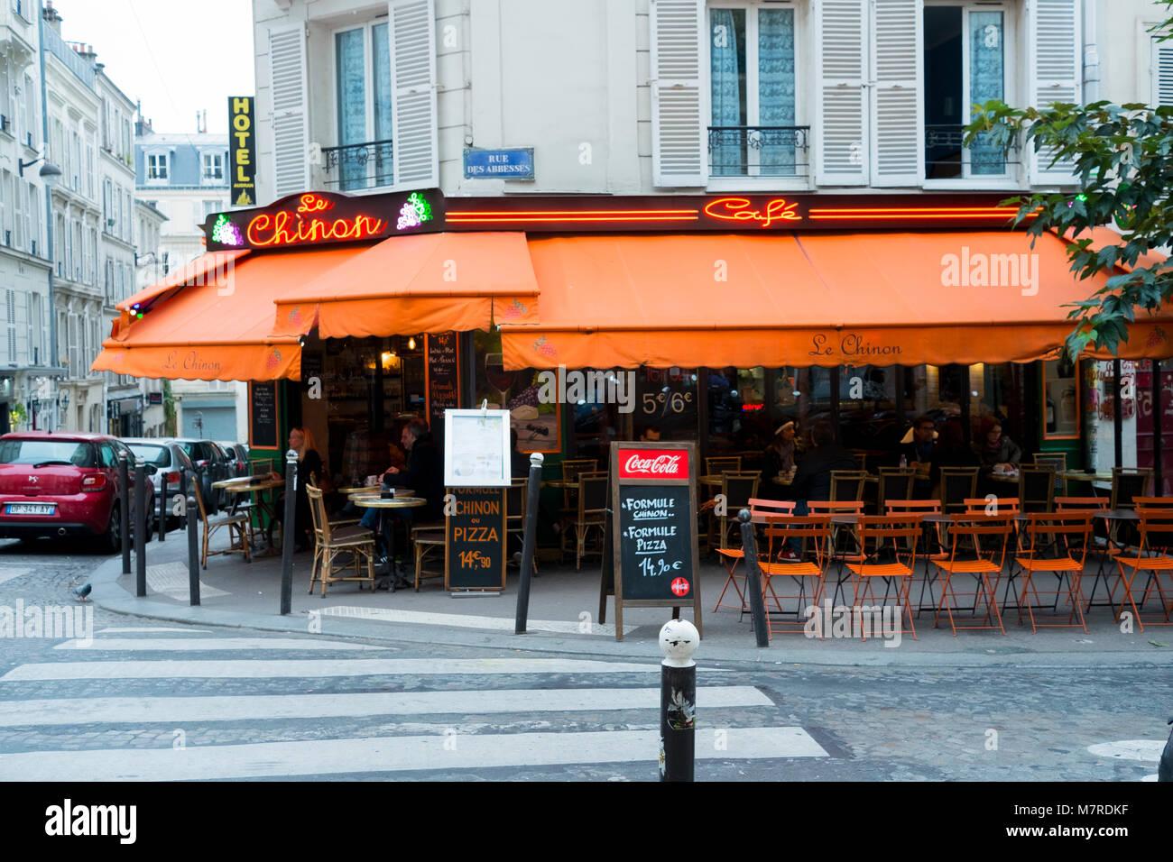 Paris Cafe Outdoor Seating - Stock Image