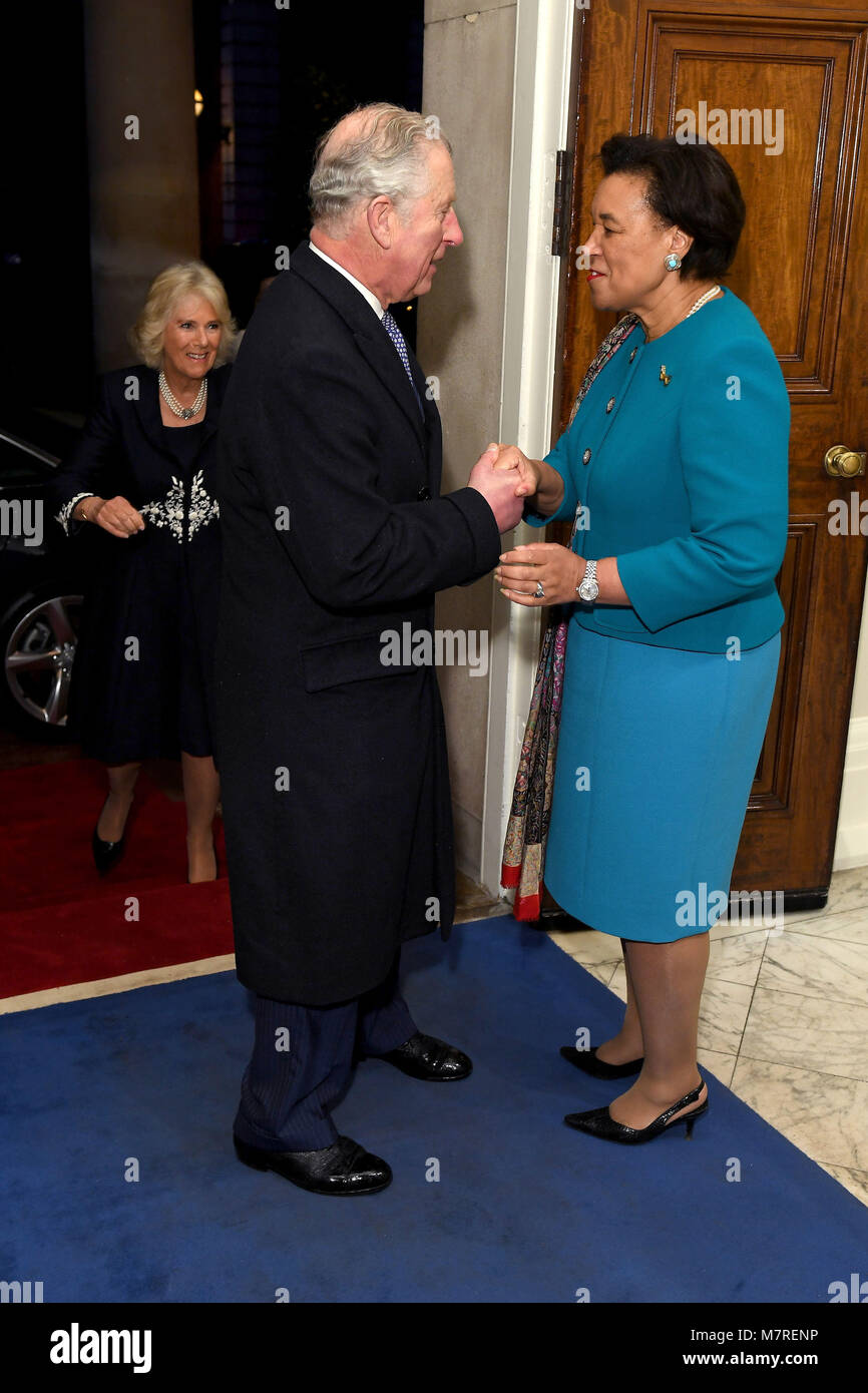 The Prince of Wales (left) meets Baroness Patricia Scotland, the Commonwealth Secretary-General at a reception held Stock Photo