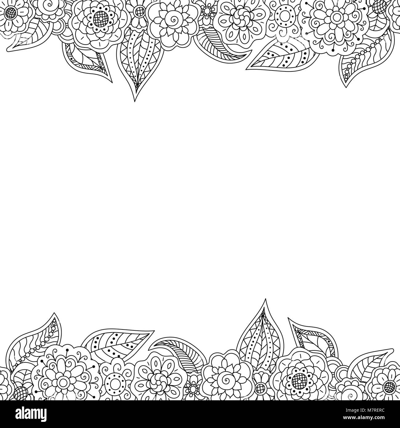 Vector Seamless Decorative Border Of Doodle Floral Elements With Copy Space Black And White Coloring Page Book For Adult