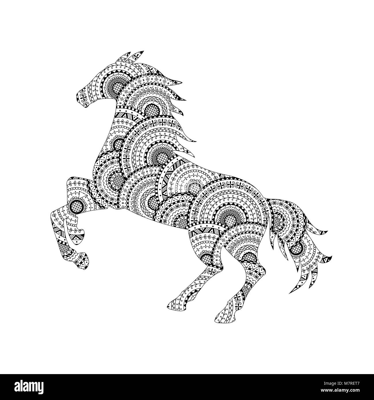 Vector Illustration Of Horse Silhouette From Black And White Mandalas Coloring Page Book Animal Anti Stress For Adult