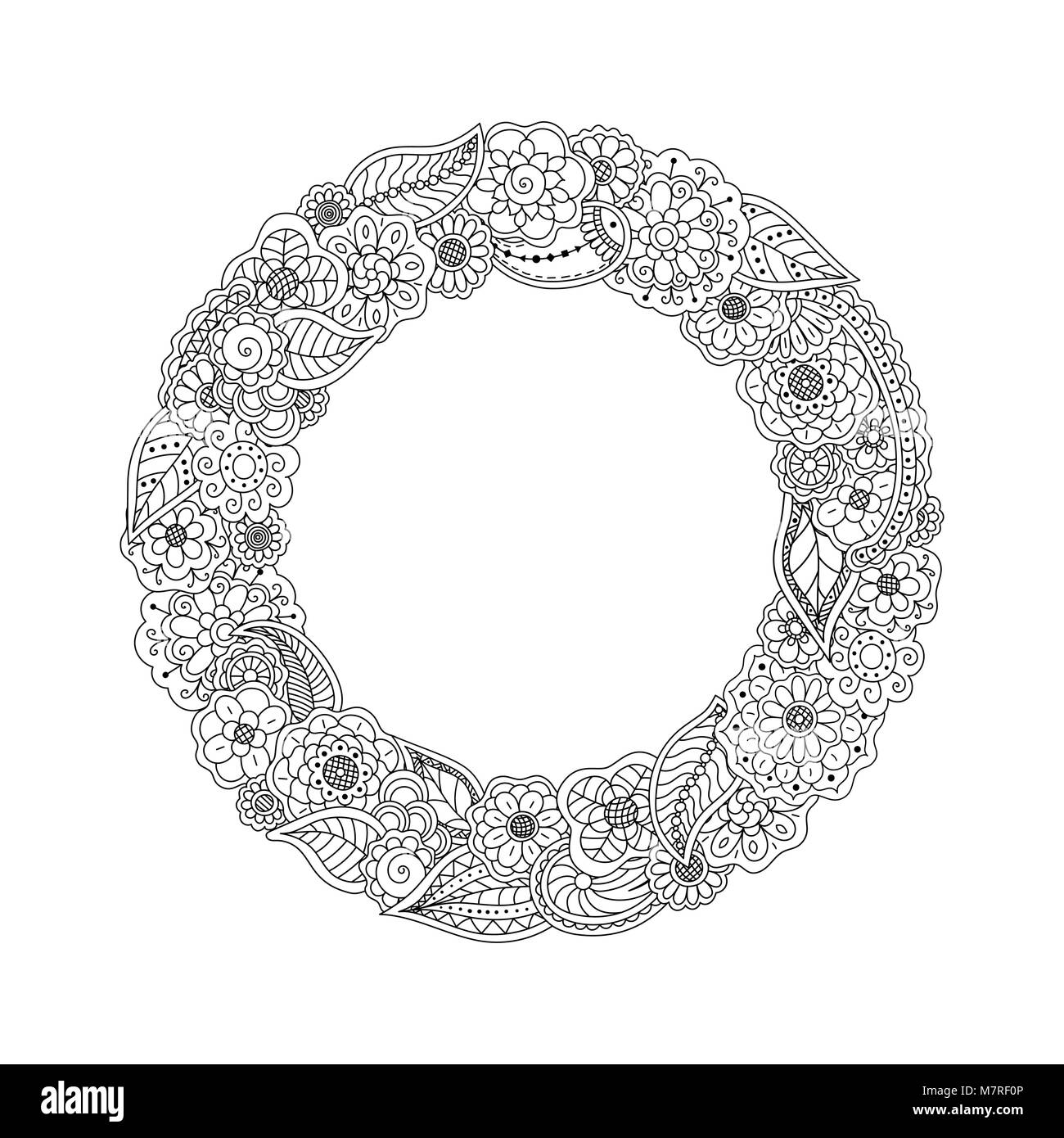Vector Round Circle Frame Of Doodle Flowers Black And White Floral Wreath Coloring