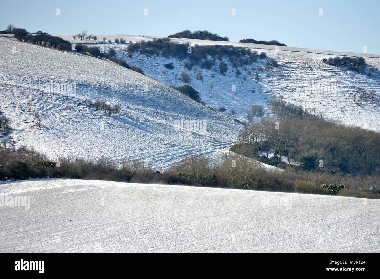 South downs escarpment in winter. - Stock Image
