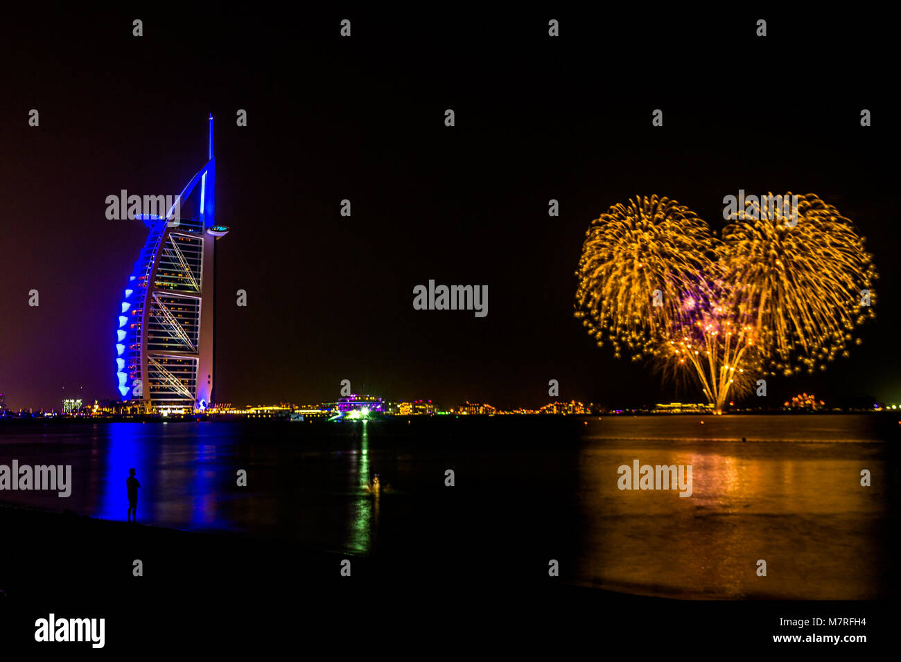 Dubai/UAE- Nov 17 2017: Burj Al Arab in Dubai at night - Stock Image