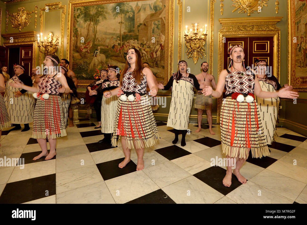 Performers at a reception held at Marlborough House, the home of the Commonwealth Secretariat in London. Stock Photo