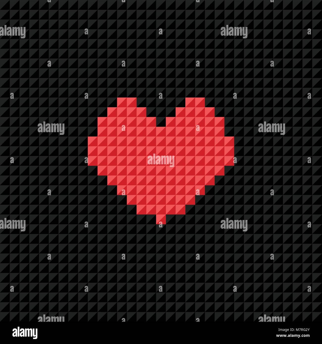 Vector Pixel Art Heart On Black Pixel Background Symbol Of