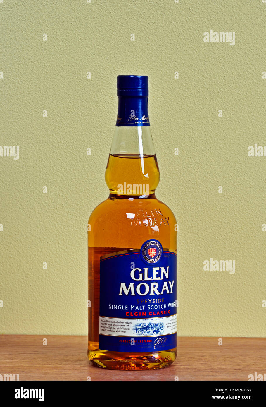 Bottle of Glen Moray Speyside single malt Scotch Whisky. Elgin Classic. - Stock Image