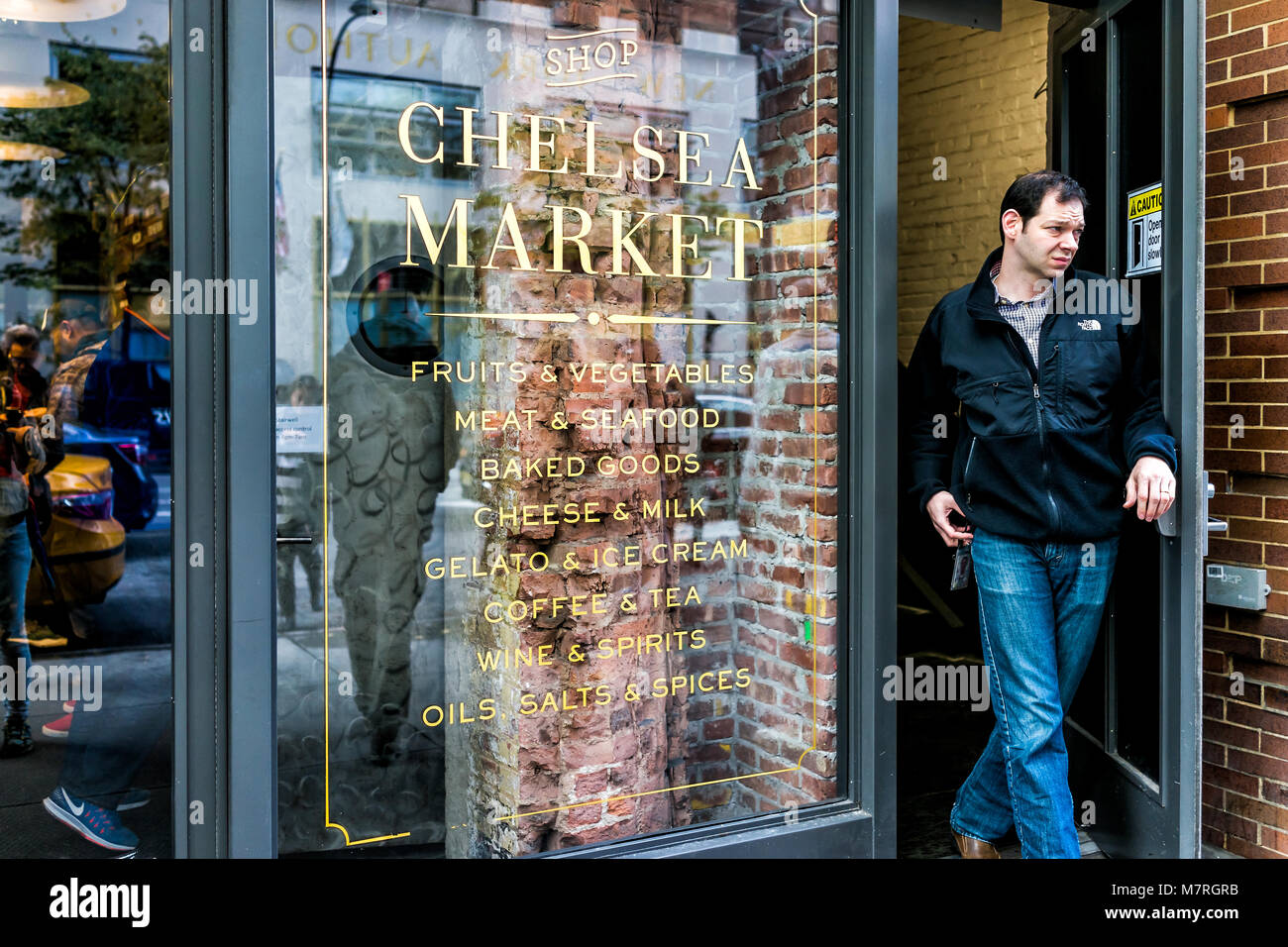New York City, USA - October 30, 2017: Market food shop entrance in downtown lower Chelsea neighborhood district - Stock Image
