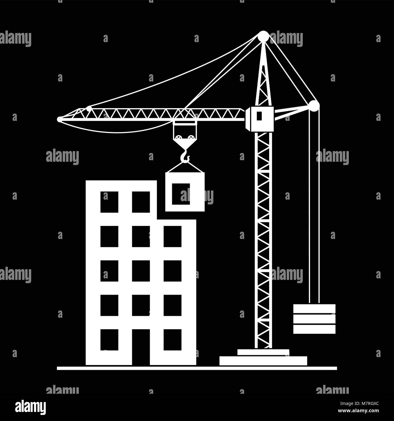 Vector building Construction with Crane on White Background - Stock Vector