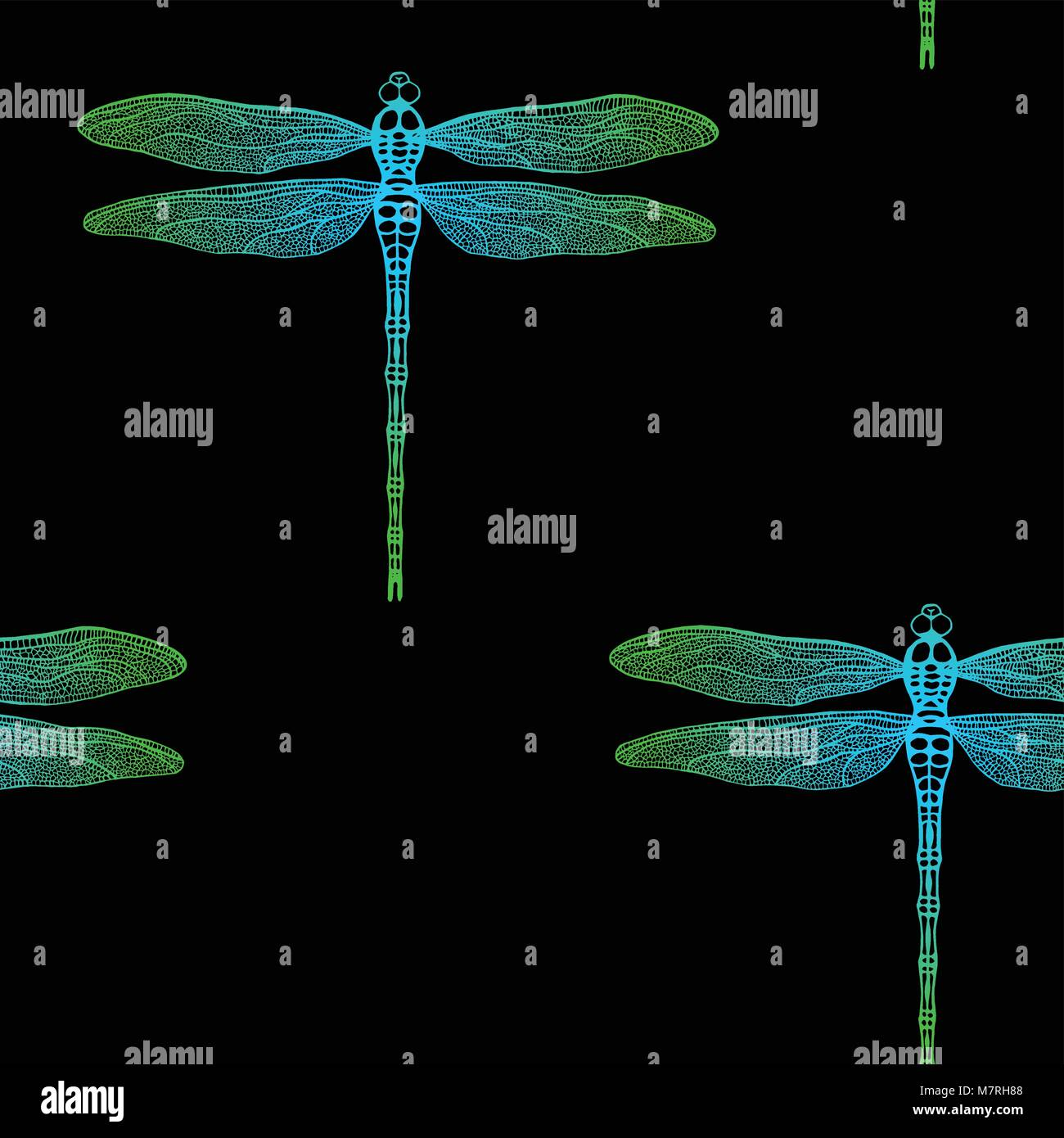 seamless pattern from gradient dragonfly on black background. Hand drawn vector damselfly - Stock Vector