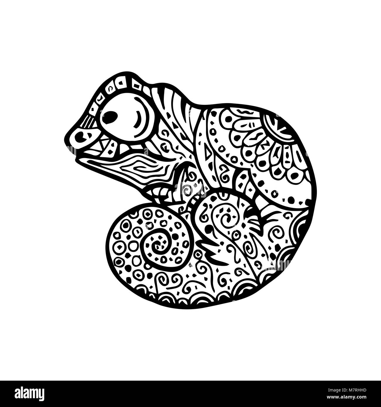 Vector Illustration Of Chameleon With Doodle Pattern Coloring Page