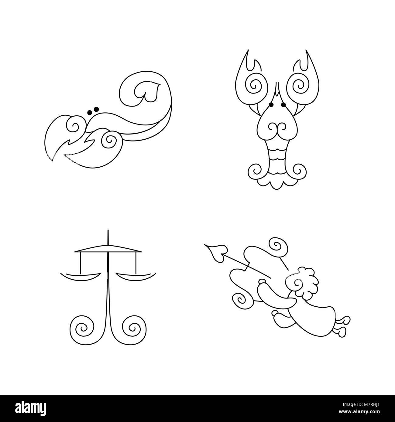 Vector One Line Zodiac Symbols Set Libra Scorpio Cancer Stock