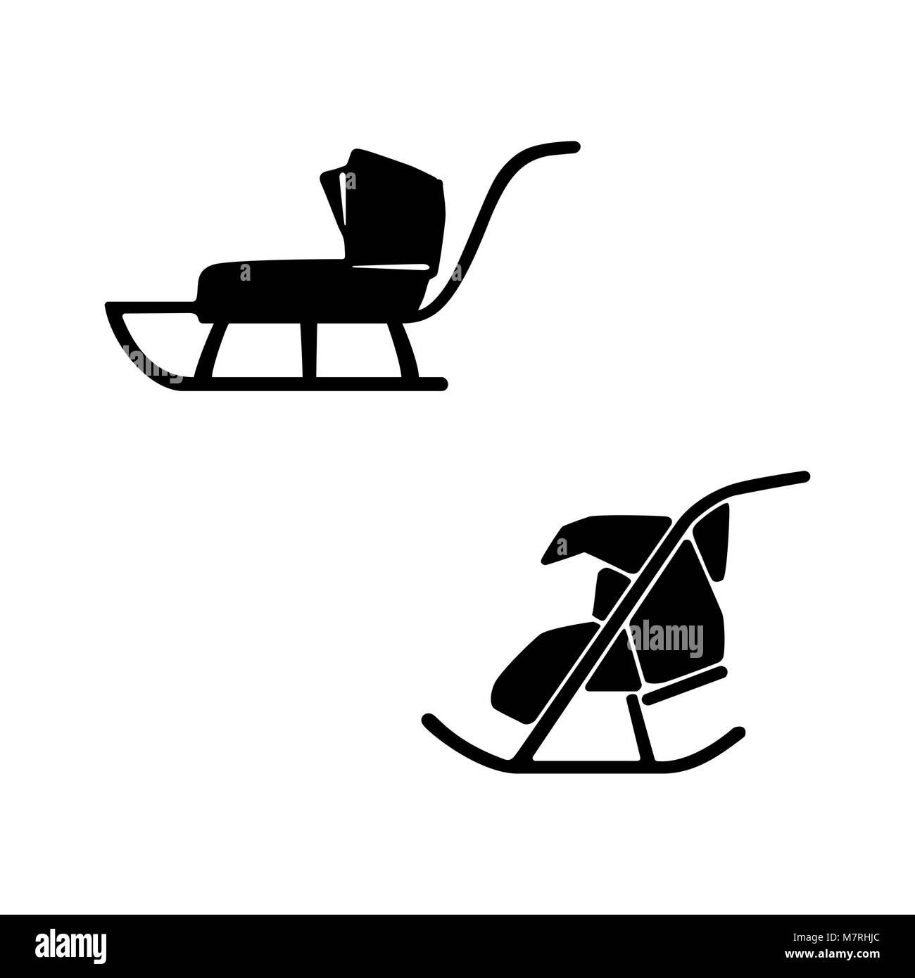 Winter. Sled. Hand drawn vector set of two sleds for baby, suckling. Sledge pram - Stock Image