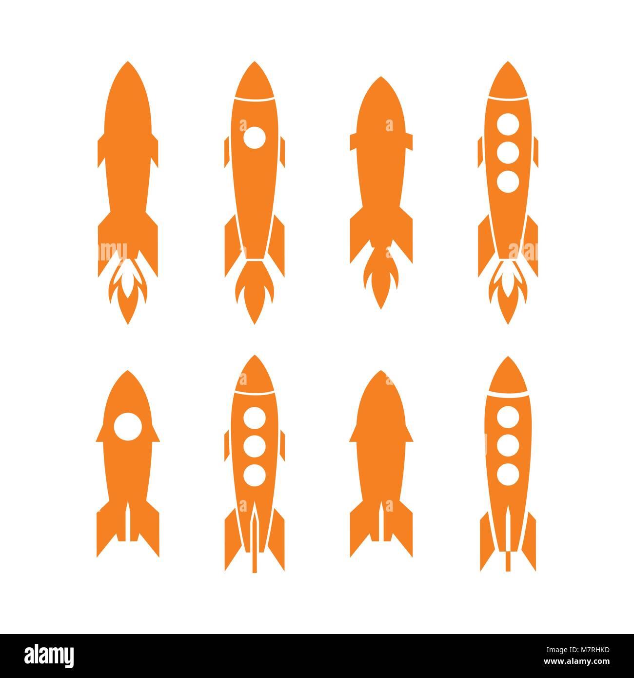 Rocket icon and rocket silhouette vector set. Icon design rocket, spaceships, rocket ship - Stock Vector