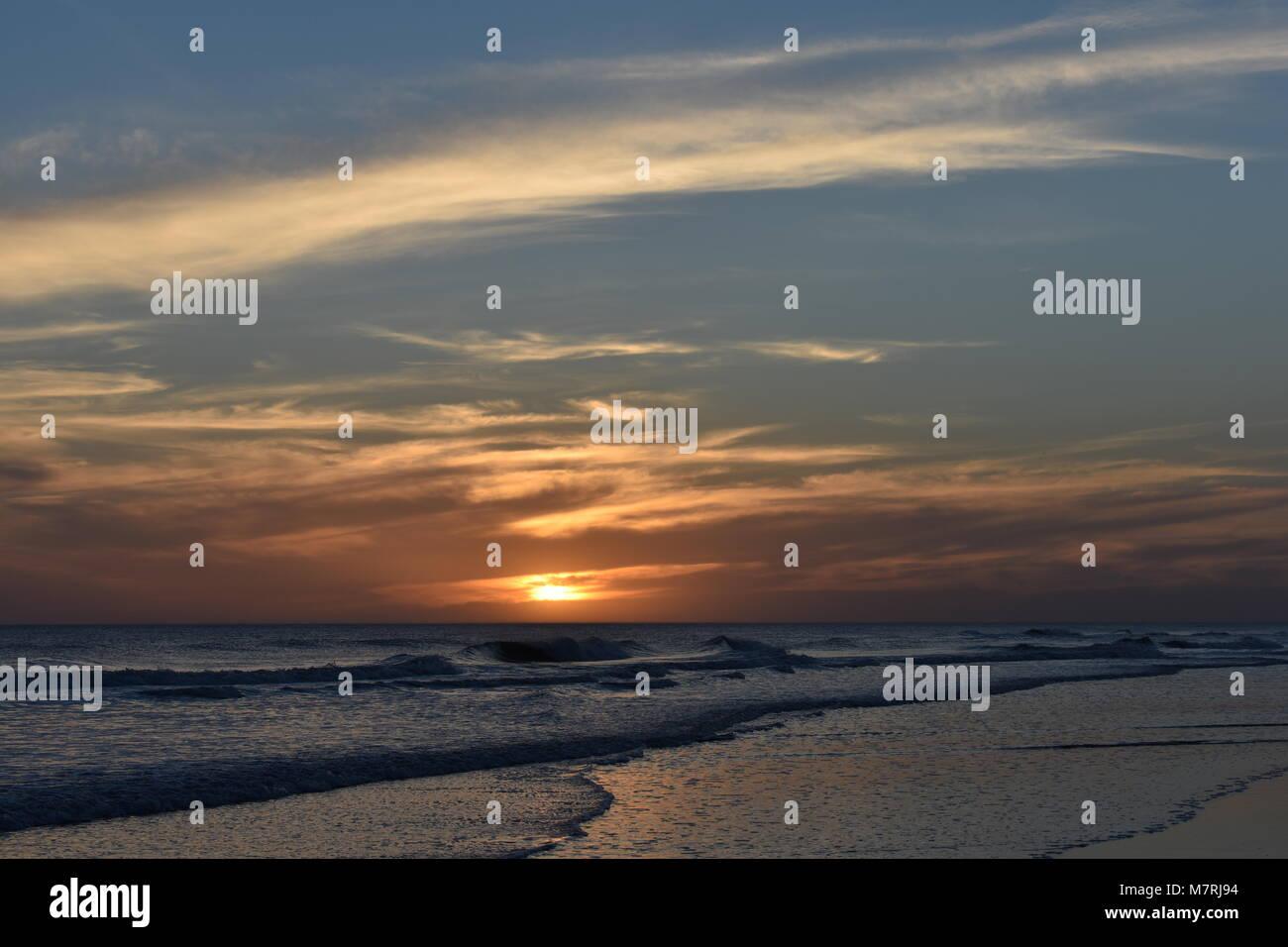 sunset in the sea atlantic - Stock Image